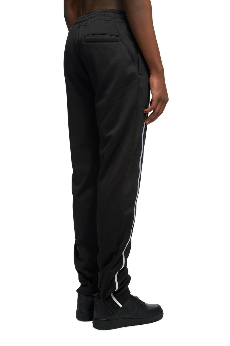 HTOWN, SPENCER BADU, SPENCER BADU MENSWEAR, HTOWN SPENCER BADU, SPENDER BADU EMBROIDERED JOGGERS, EMBROIDERED JOGGERS, SPENCER BADU JOGGERS, POLYESTER, JOGGERS, JOGGERS WITH WHITE STRIPE DETAIL, LONDON DESIGNER, LONDON BOUTIQUE, SPRING SUMMER 2021, SS21, LUXURY DESIGNER, LUXURY FASHION, MEN'S LUXURY EMBROIDERED JOGGERS, LUXURY JOGGERS