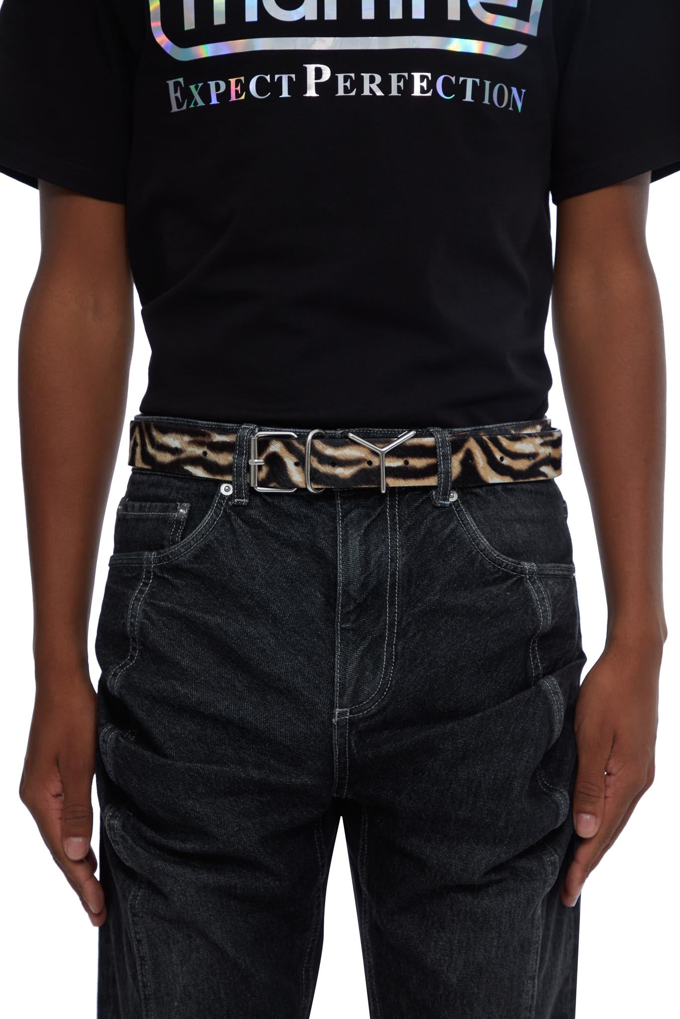 y/project, classic y-belt, TIGER PRINT, BELT1Y -S19 S19, BELT, AW20, BELT, LEATHER, MENS, METAL