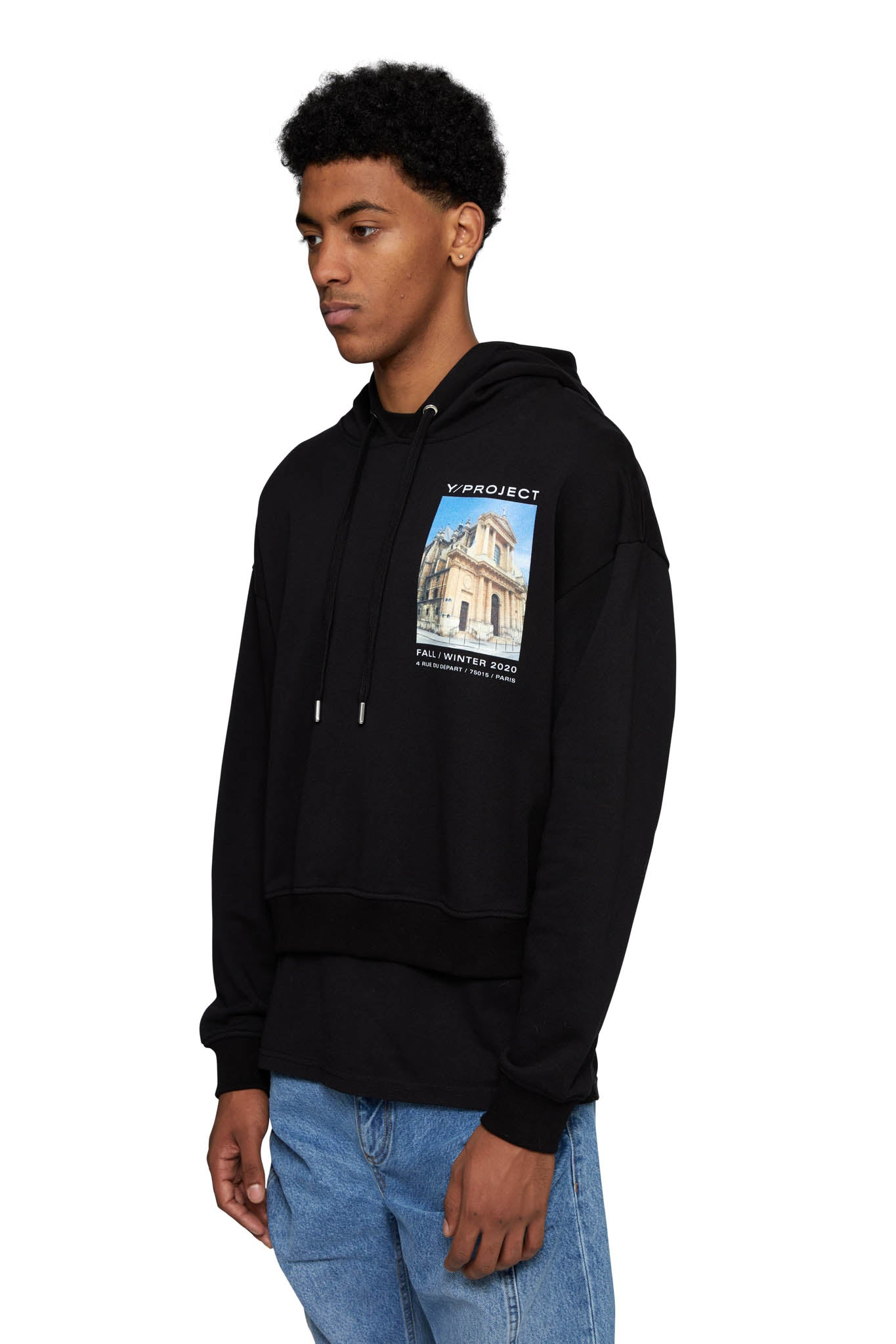 Y/PROJECT, HTOWN EXCLUSIVE PRINTED SHOW HOODIE, BLACK, WSWEAT24B-S19 J11, AW20, COTTON, HOODIE, MENS