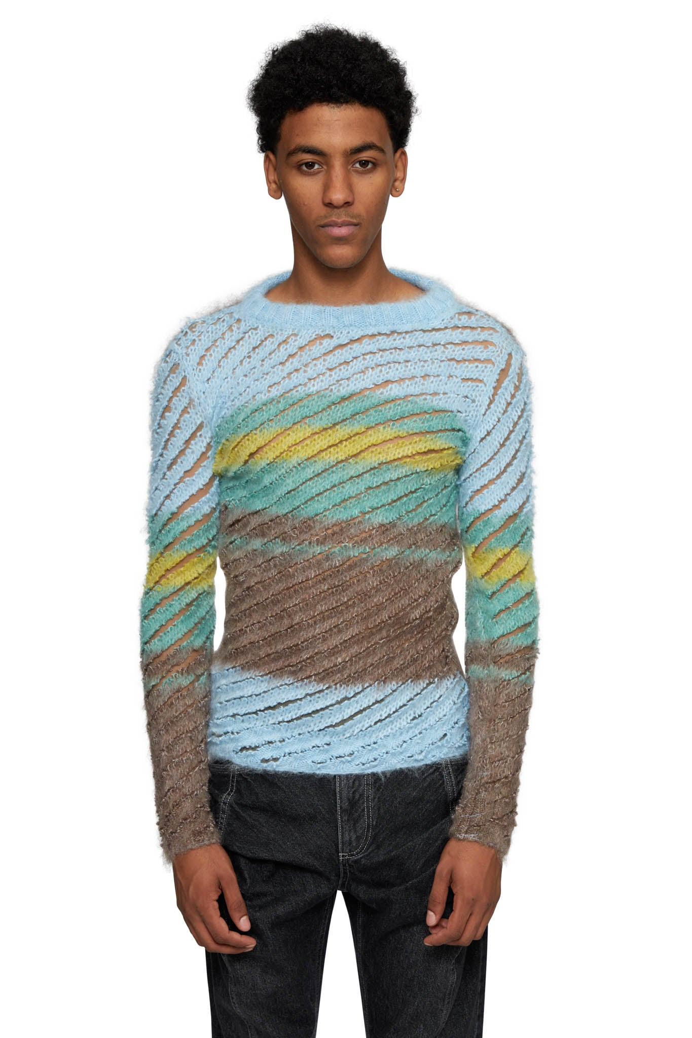 Y/PROJECT, STRIPED LOOP KNIT PULLOVER, SKY BLUE, WMPULL38-S19 Y19 & Y20, AW20, MENS, PULLOVER