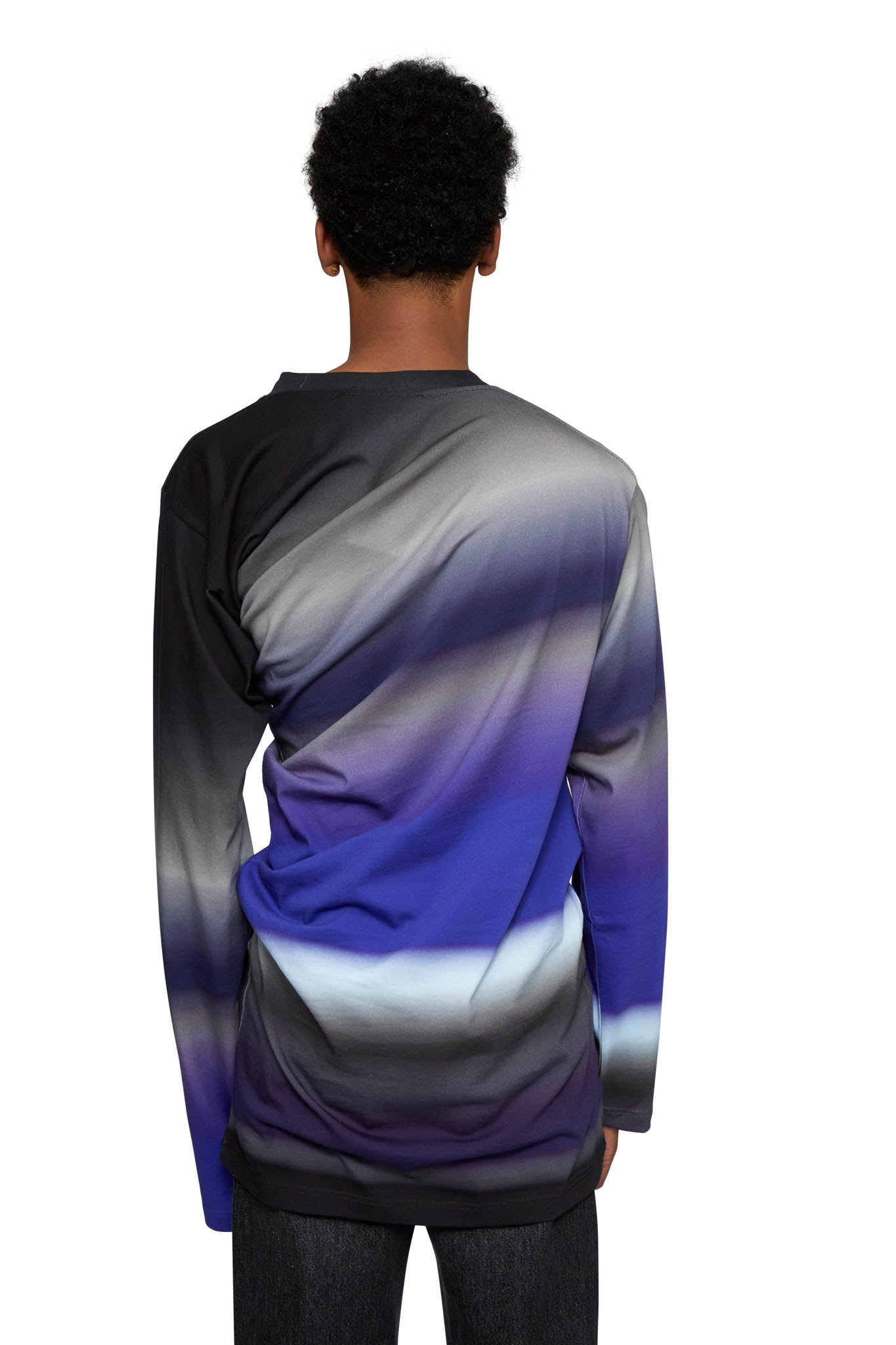 Y/PROJECT, TWISTED LONG SLEEVE T-SHIRT, PURPLE OMBRE, TS50-S19 J35, AW20, COTTON, MENS, TSHIRT