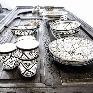 Moroccan Ceramics - Black & White Table Set