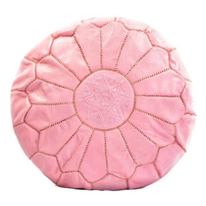 Moroccan Pouf - Leather - Barbie