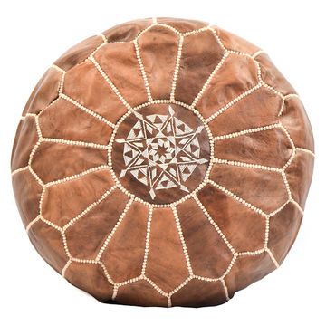 Moroccan Pouf - Leather - Camel
