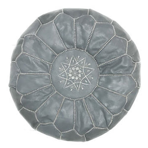 Moroccan Pouf - Leather - Roche