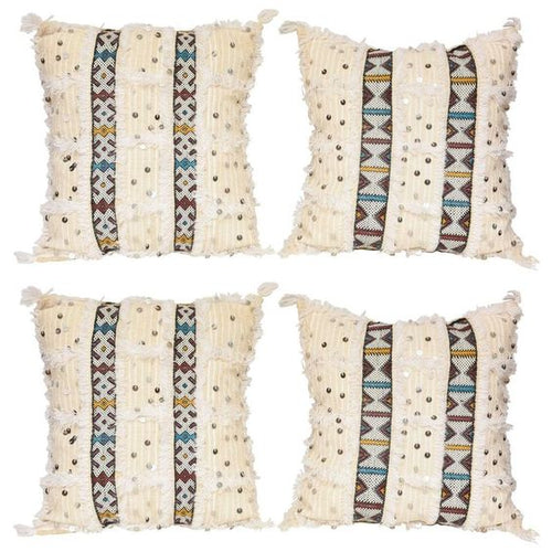 Moroccan Pillow - Kilim - White