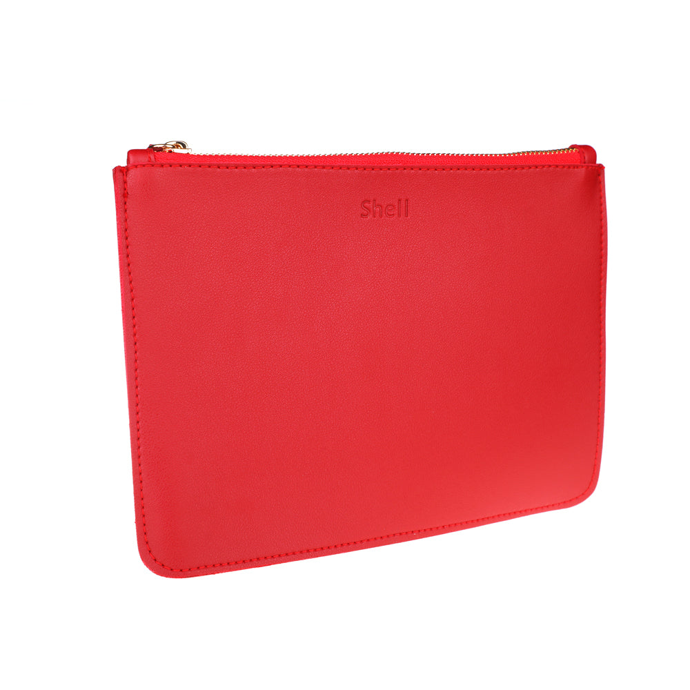 Chic And Classy Red Synthetic Leather Wristlet