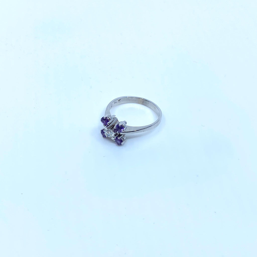 Bague en or 18k 4.4gr + dmts/amethystes T57