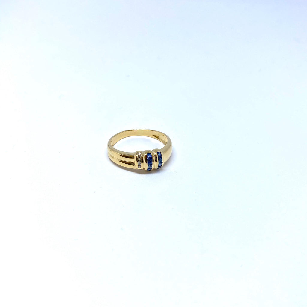 Bague en or 18k 3.5gr + saphirs/dmts
