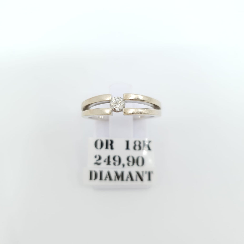 Bague Or 18k 4.5gr + Diamants Taille 53