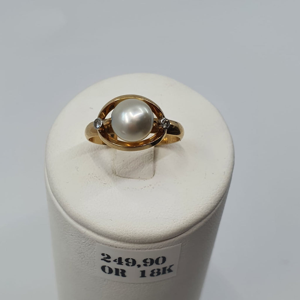 Bague Or 18k 3,35gr Diamants T55