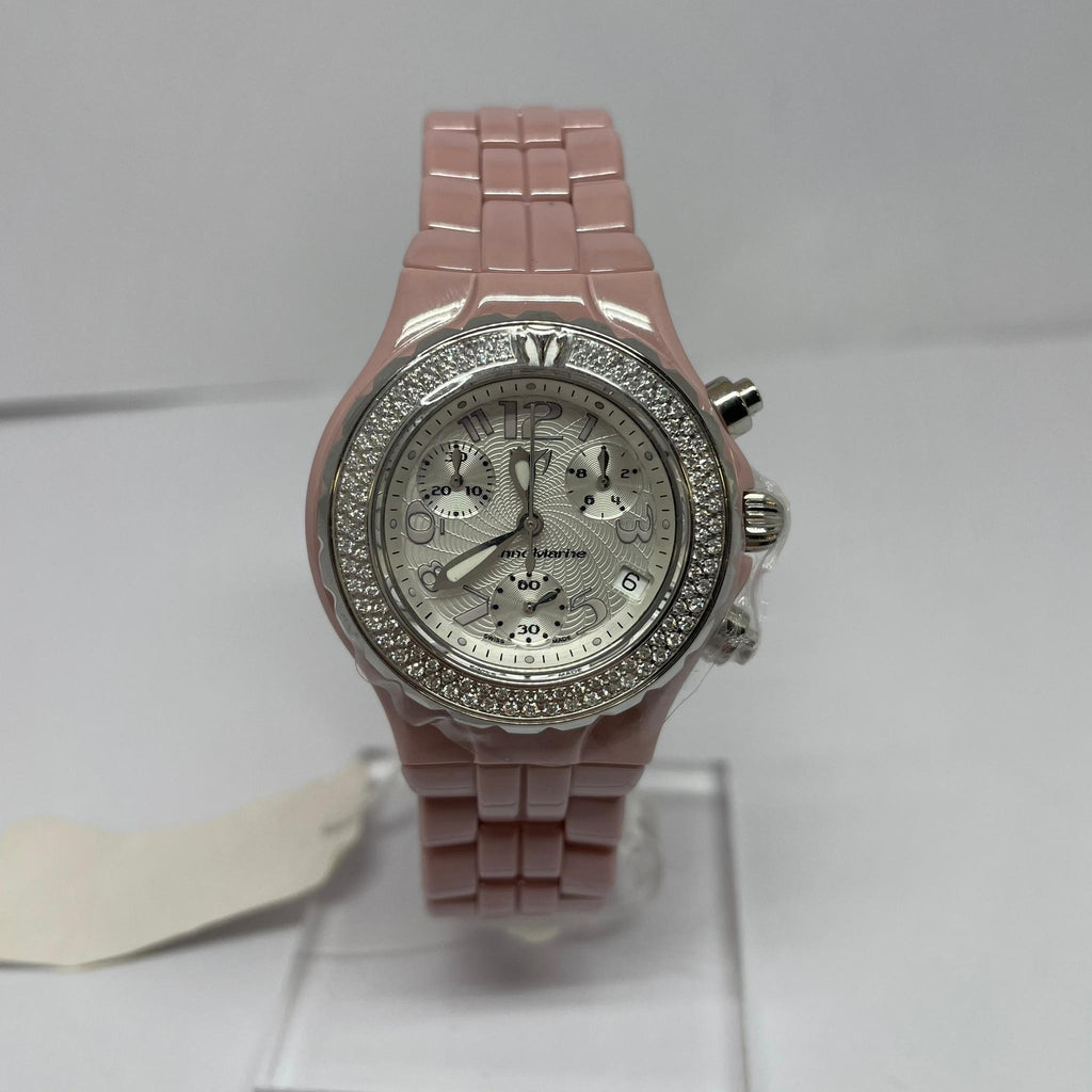 Montre  Technomarine Chrono Céramique rose + Diamants