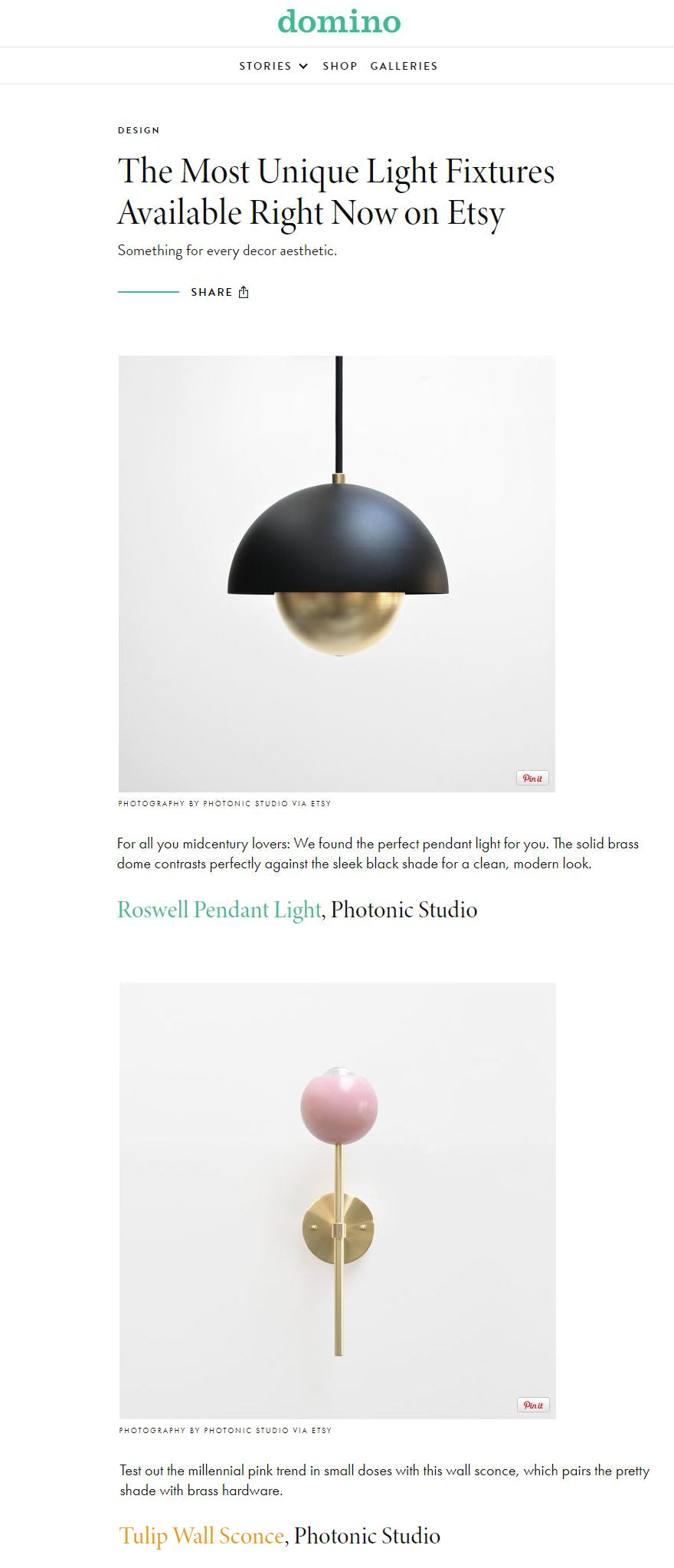 Photonic Studio Roswell Pendant and Tulip Sconce in Domino Magazine