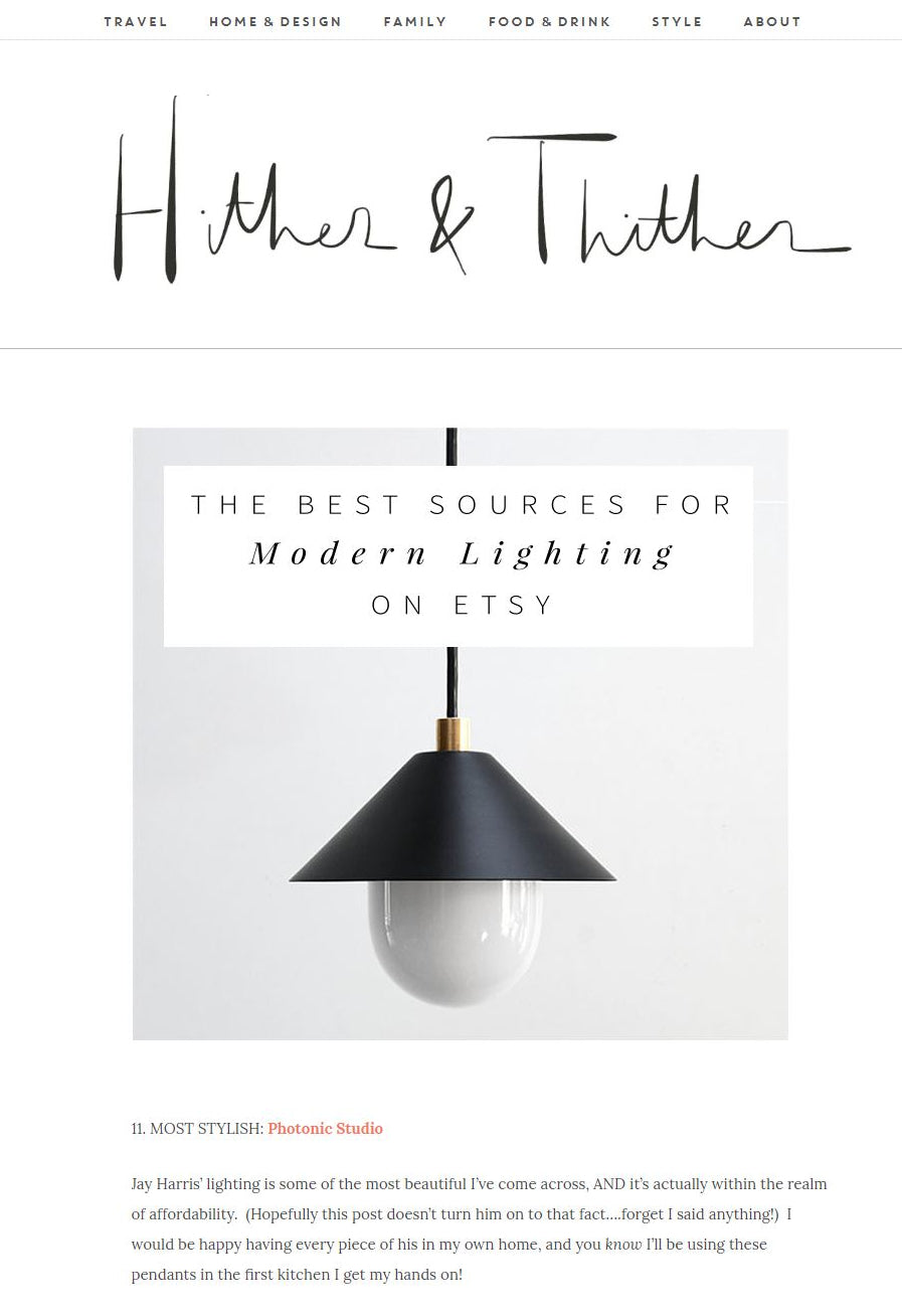 "Photonic Studio UFO Pendant in Hither & Thither Feature ""The Best Sources For Modern Lighting on Etsy"""