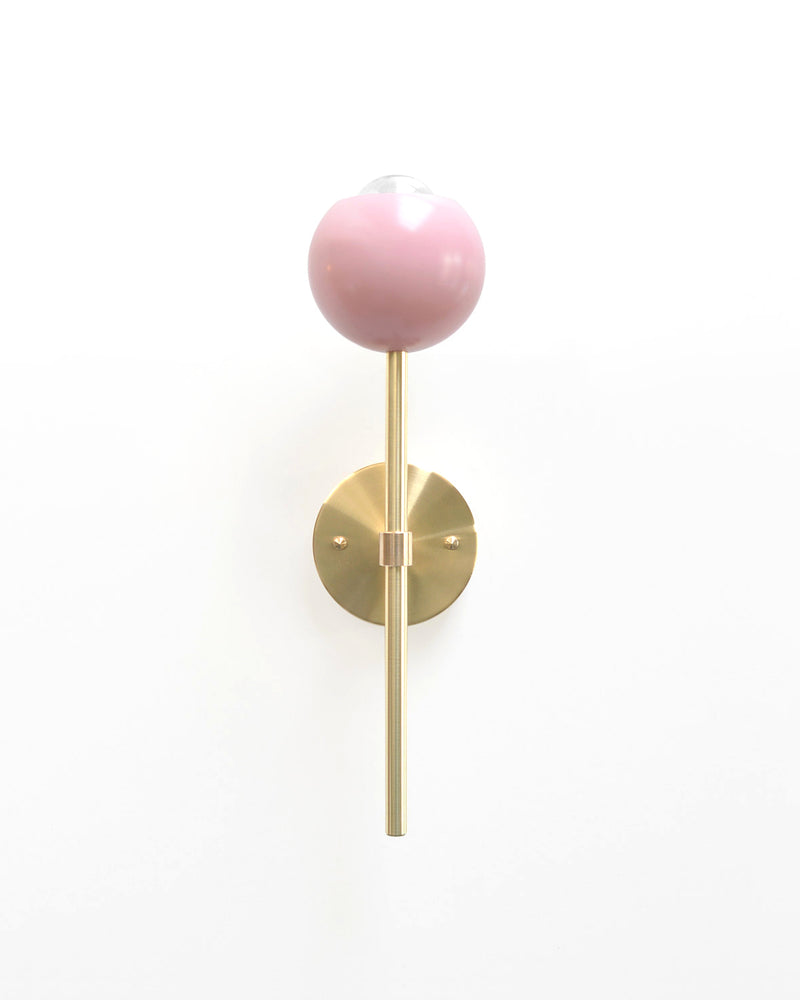 "Modern Brass & Pink Torchiere Wall Sconce. ""Tulip"" by Photonic Studio."
