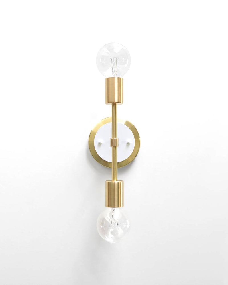 "Modern Brass & White Double Bulb Vanity Sconce. ""Spiegel"" by Photonic Studio."