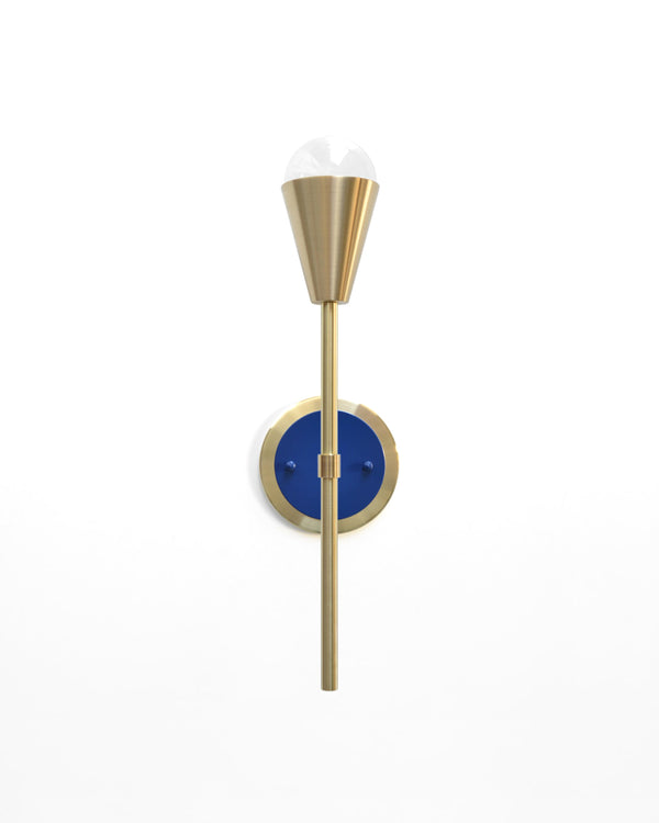 "Modern Brass & Navy Torchiere Wall Sconce. ""Beldar"" by Photonic Studio."