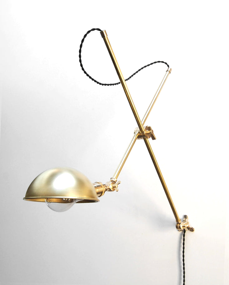 """Teller"" Adjustable Articulating Solid Brass Wall Mount Boom Lamp"