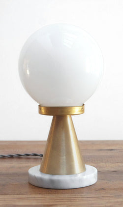 "Modern White Marble & Brass ""Memphis"" Table Lamp by Photonic Studio.  Perfect for a range of decors from Mid-Century to Postmodern."