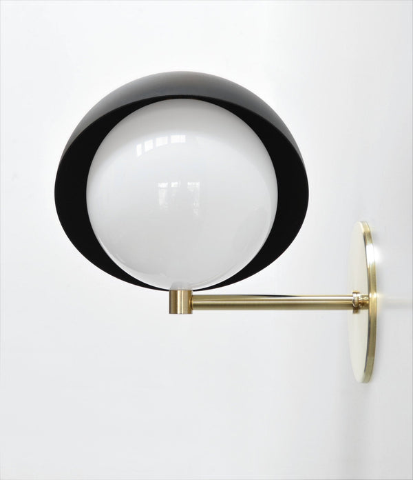 "Modern Brass & Black Wall Sconce. ""Saga"" by Photonic Studio. Directional Wall Light With Opal Globe. Stunning as Bedside Lights."