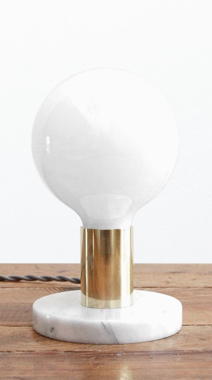 "Simple Modern Brass & White  Marble ""PB"" Table Lamp by Photonic Studio"
