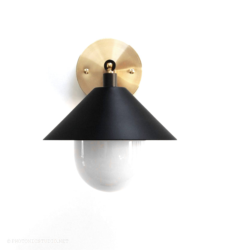 "Modern Brass, Black & Opal Glass Wall Sconce. ""UFO"" by Photonic Studio. Adjustable, Directional Wall Light."