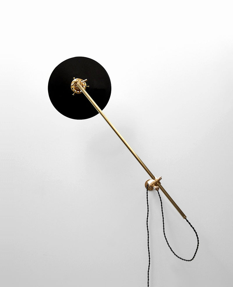 """Chicago"" Elegant Adjustable Articulating Brass & Black Wall Mount Boom Lamp With Porcelain Enamel Flat Shade"
