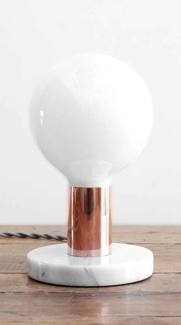 "Simple Modern Copper & White Marble ""PB"" Table Lamp by Photonic Studio"