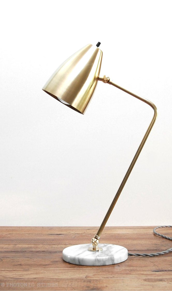 "Adjustable Modern Brass & White Marble Desk or Table Lamp. ""Grodorna"" by Photonic Studio"