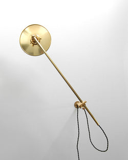 """Chicago"" Elegant Adjustable Articulating Brass Wall Mount Boom Lamp With Solid Brass Flat Shade"
