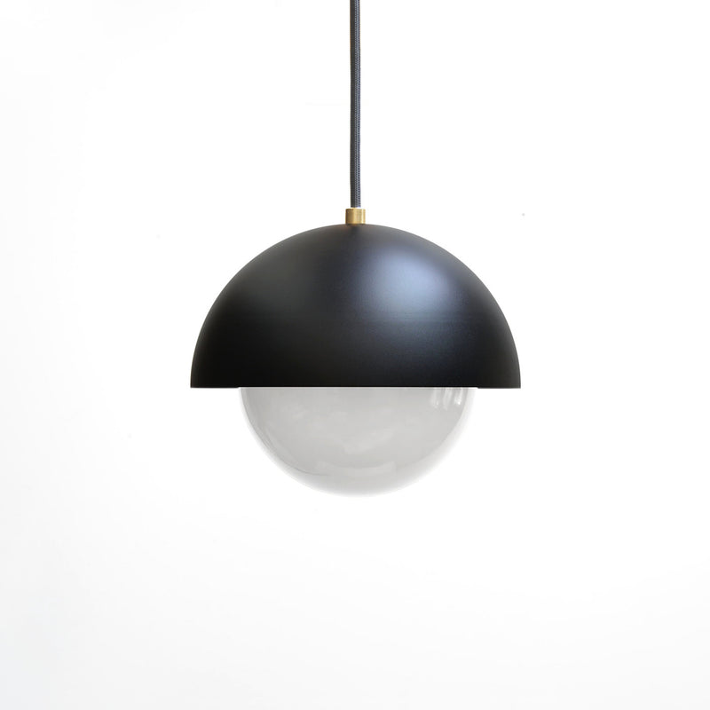 """A51"" Minimal Modern Brass & Black Pendant Light with White Glass Globe"