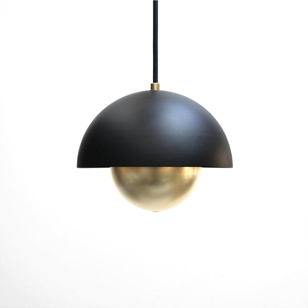 """Roswell"" Minimal Modern Black & Brass Dome Pendant Light"