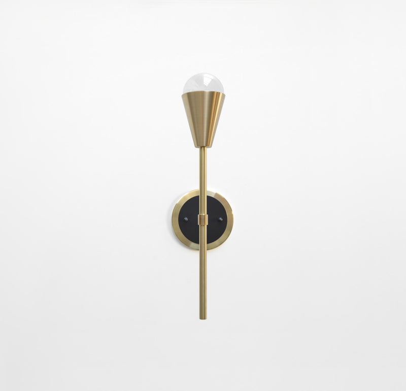 "Modern Brass & Black Torchiere Wall Sconce. ""Beldar"" by Photonic Studio."