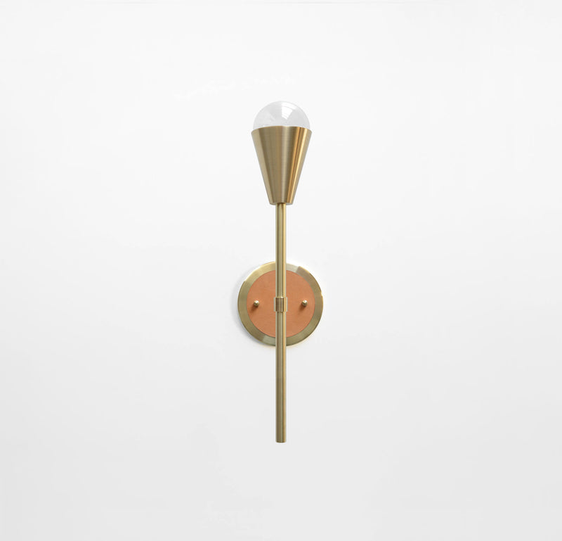 "Modern Brass & Leather Torchiere Wall Sconce. ""Beldar"" by Photonic Studio."
