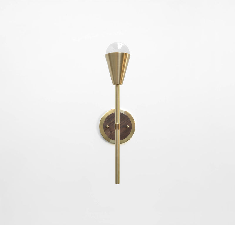 "Modern Brass & Walnut Torchiere Wall Sconce. ""Beldar"" by Photonic Studio."