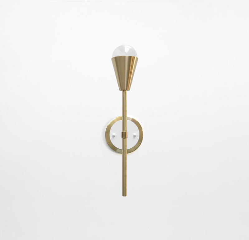 "Modern Brass & White Torchiere Wall Sconce. ""Beldar"" by Photonic Studio."