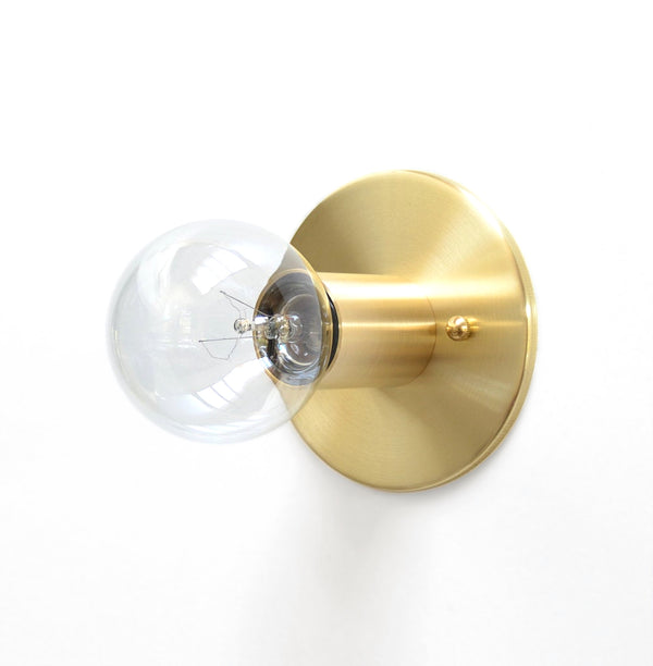 Minimal Modern Solid Brass Low Profile Flush Mount Wall or Ceiling Light