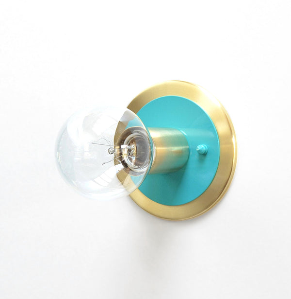 Minimal Modern Brass & Aqua Low Profile Flush Mount Wall or Ceiling Light