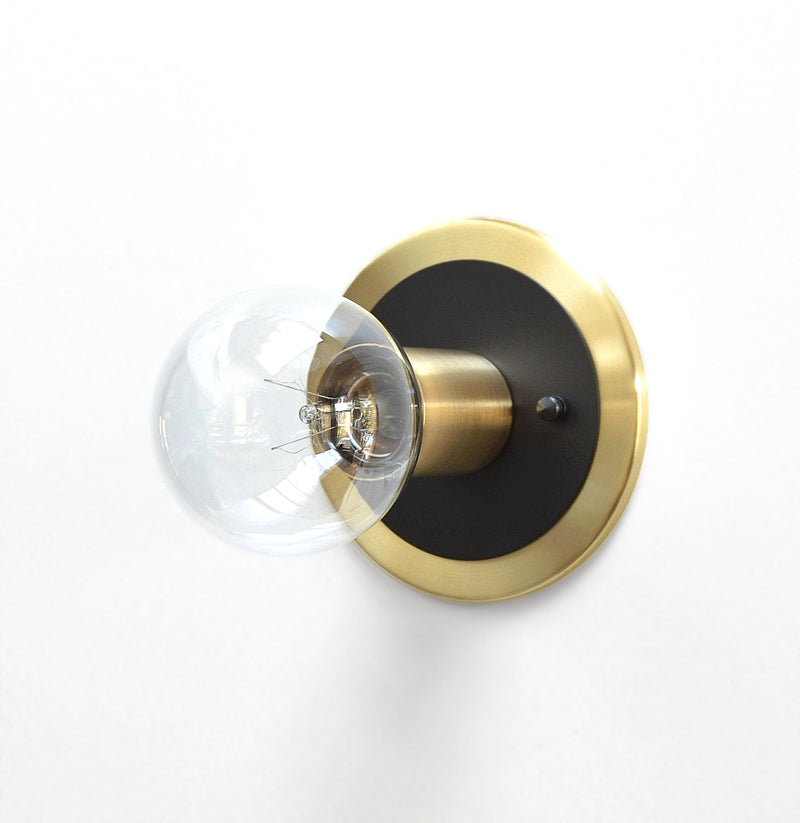 Minimal Modern Brass & Black Low Profile Flush Mount Wall or Ceiling Light
