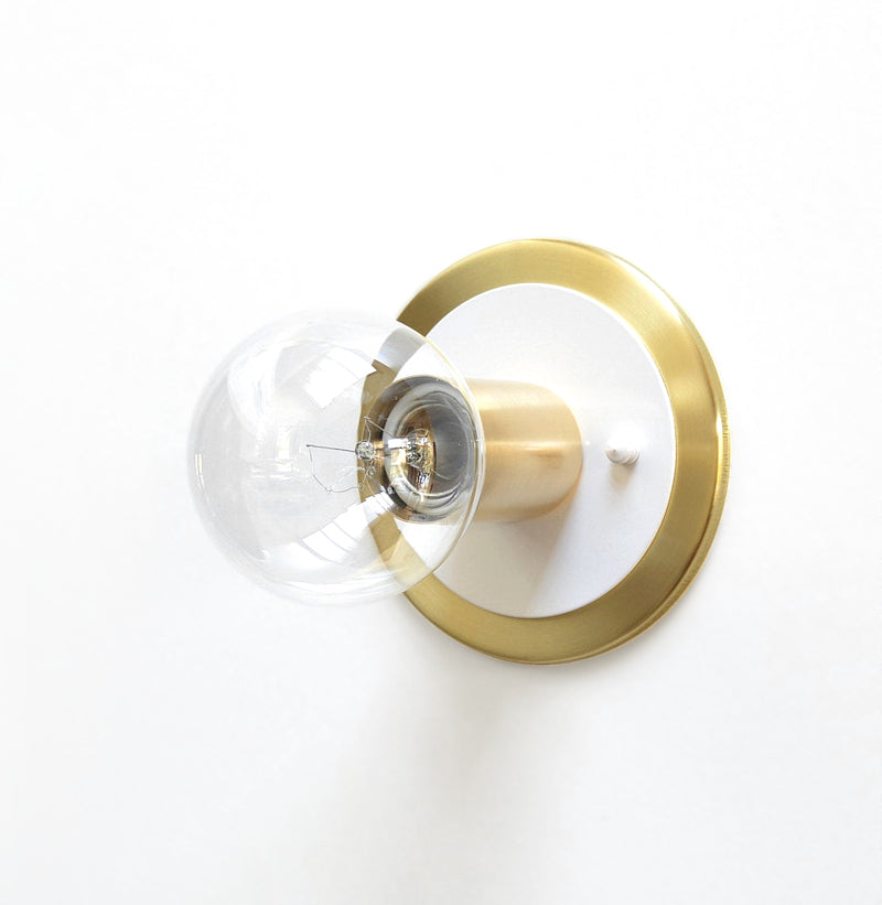 Minimal Modern Brass & White Low Profile Flush Mount Wall or Ceiling Light