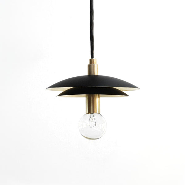 """DUO"" Mid Century Modern Black & Brass Dual Shade Pendant Light"