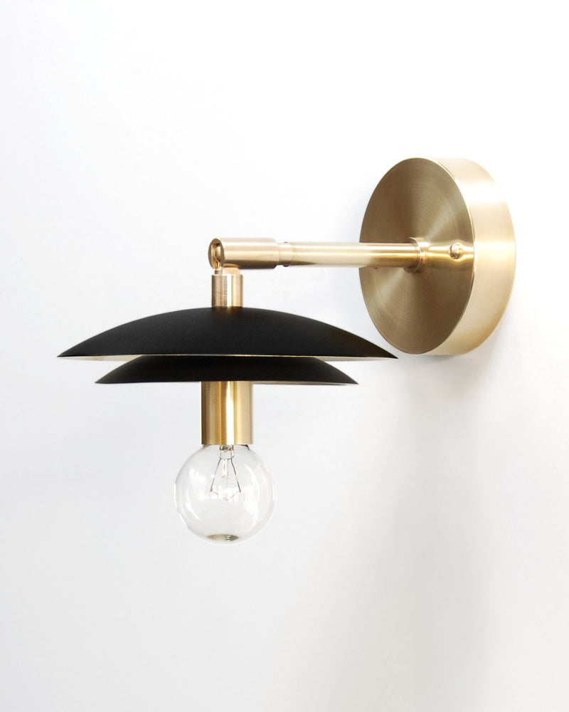 "Mid Century Modern Brass & Black Wall Sconce. ""Duo"" by Photonic Studio. Adjustable Wall Light."