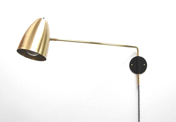 Éprouvé Modern Brass & Black Swing Arm Lamp With Cone Shade