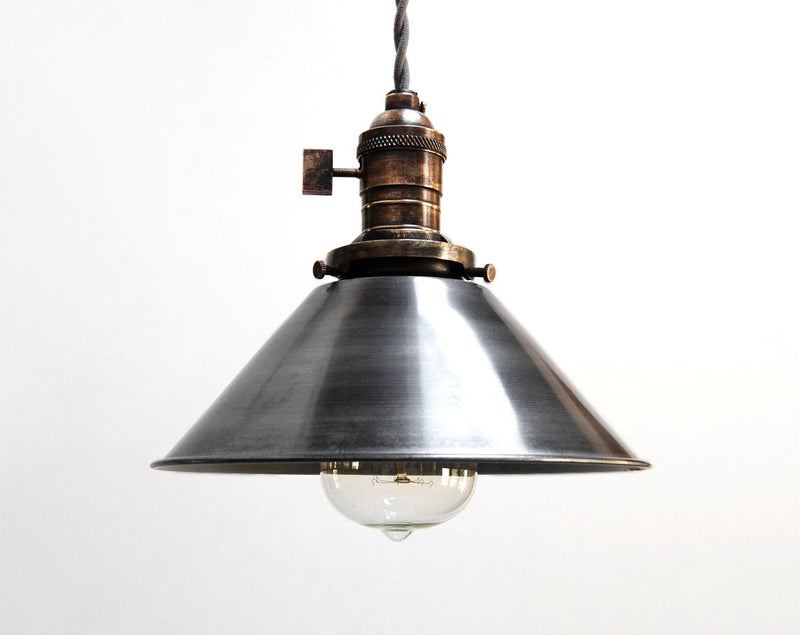 """H1"" Hand Antiqued Brass & Steel Industrial Cone Pendant Light"