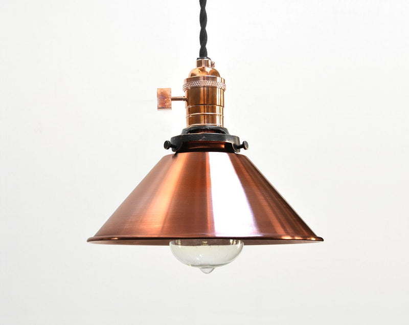 """H2"" Hand Antiqued Copper Industrial Cone Pendant Light"