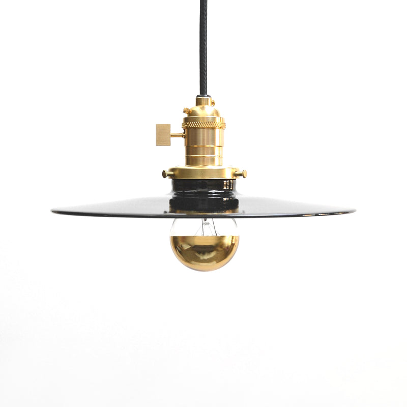 """Halo"" Minimal Modern Brass & Black Pendant Light With Porcelain Enamel Flat Shade"