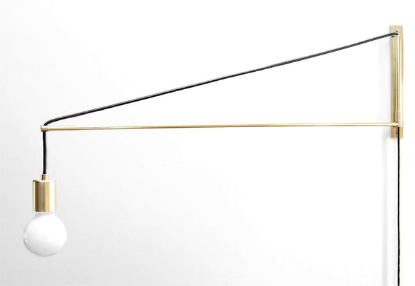 """Jib"" Minimal Modern Brass Swing Arm Lamp. Wall Mount with 2 Foot, 3 Foot, and 4 Foot Lengths Available"