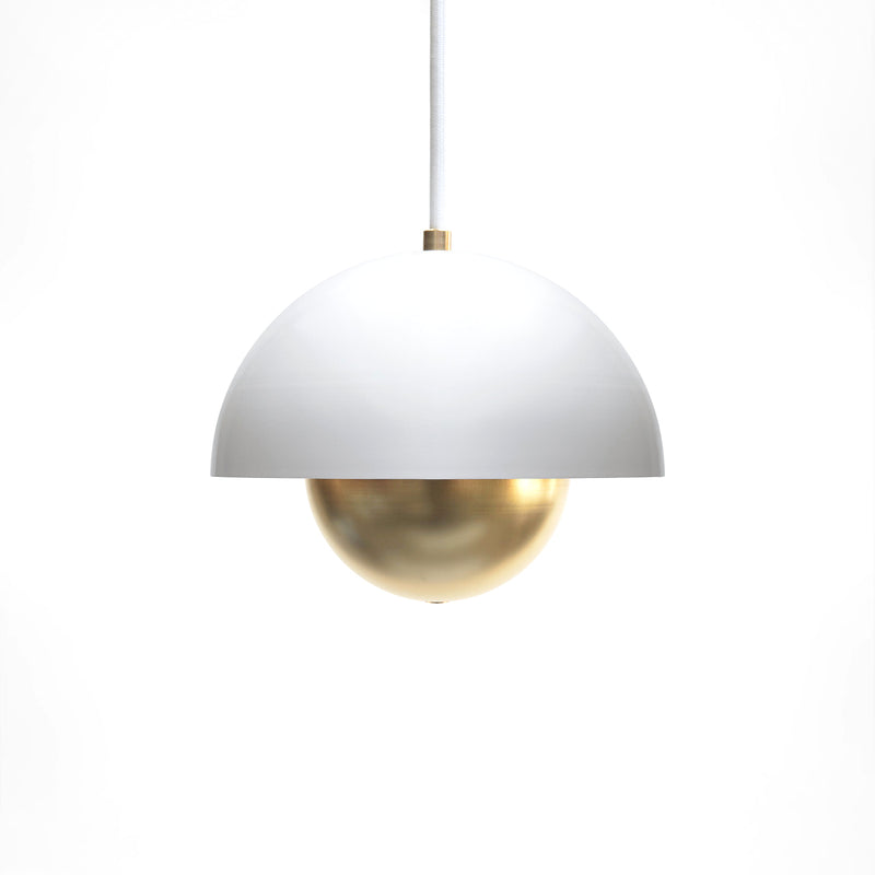 """Roswell"" Minimal Modern White & Brass Dome Pendant Light"