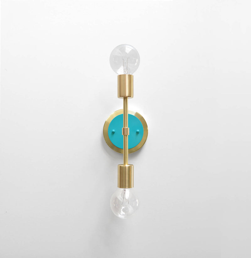 "Modern Brass & Aqua Double Bulb Vanity Sconce. ""Spiegel"" by Photonic Studio."