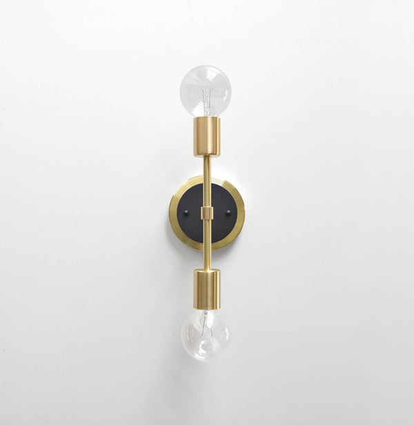 "Modern Brass & Black Double Bulb Vanity Sconce. ""Spiegel"" by Photonic Studio."
